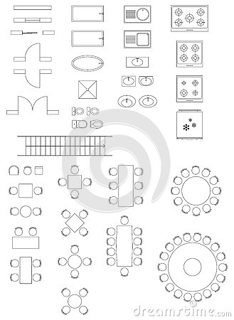 Standard Symbols Used Architecture Plans Stock Images