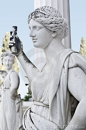 Standbeeld dat een oude griekse mythische muse toont royalty vrije stock afbeeldingen - Oude griekse decoratie ...