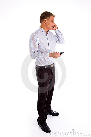 Standing american man talking on cell phone