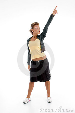 Standing attractive woman pointing upward