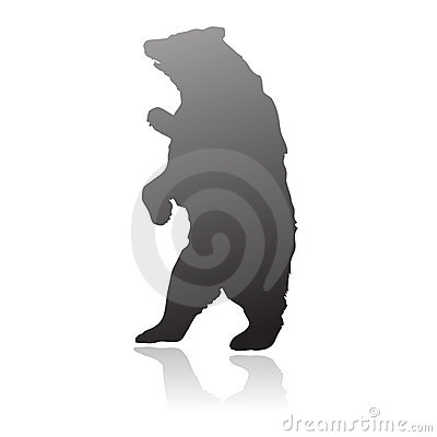 Standing bear silhouette vector