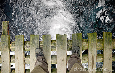 Standing on the bridge - wide shot (with clipping path)