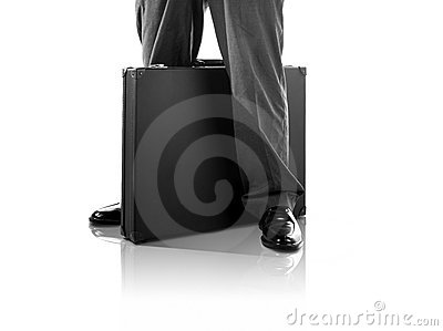 Standing with a briefcase (with clipping path)