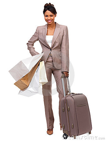 Standing business woman ready for travel
