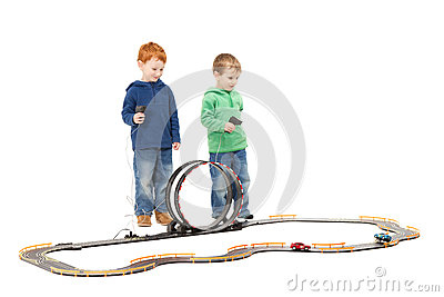Standing children playing kids racing toy car game
