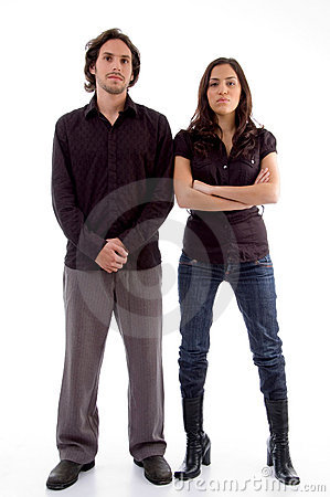 Standing couple looking at camera
