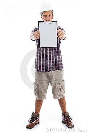 Standing engineer showing writing pad