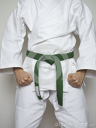 Free Standing Fighter Green Belt Martial Arts White Suit Royalty Free Stock Photography - 54632057