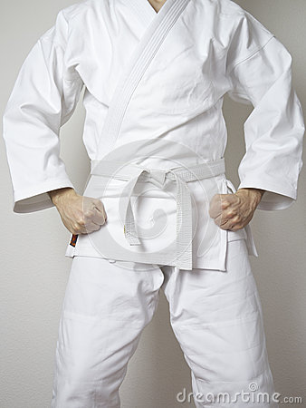 Free Standing Fighter White Belt Martial Arts White Suit Stock Photography - 54632032