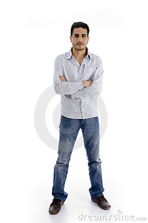 Standing handsome man with crossed arms