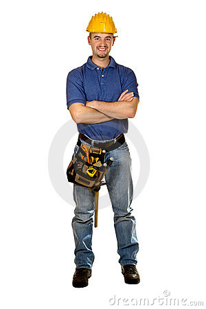 Standing isolated young manual worker