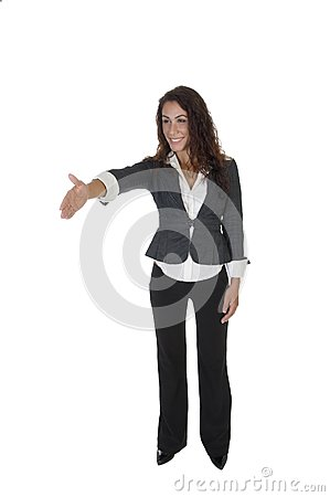Standing lady offering hand shake