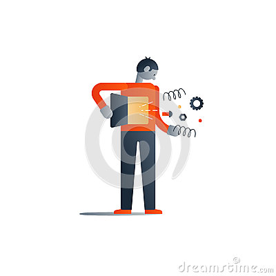 Standing man with broken inner mechanism, bad health Vector Illustration