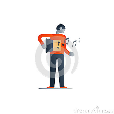 Standing man, gut feeling, creative thinking concept Vector Illustration