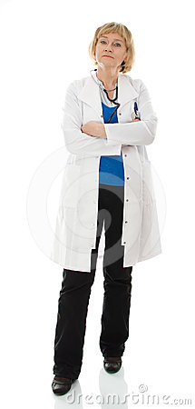 Standing mature doctor