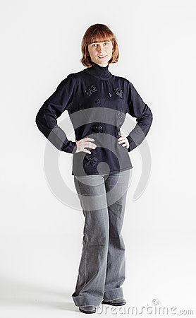 Standing middle aged woman