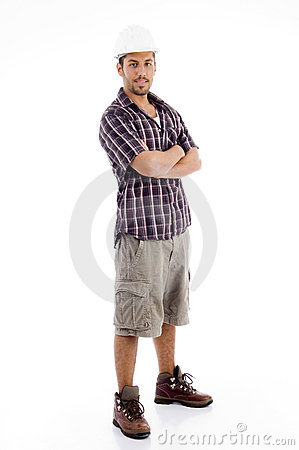 Standing Pose Of Casual Man With Folded Arms Stock Images ...