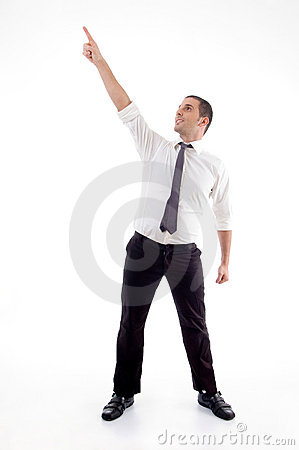 Standing professional man pointing up