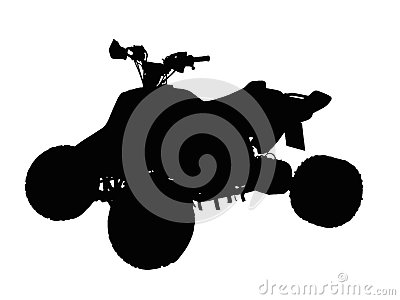Standing Quad Bike ATV Isolated Silhouette