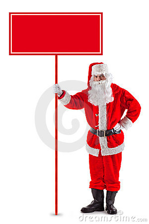 Standing Santa Claus with a sign
