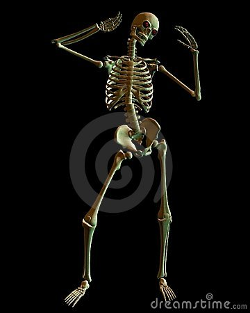 Standing Skeleton with Spooky Green lighting