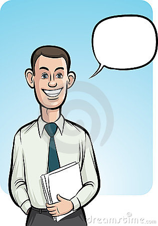 Standing smiling business person with speech ballo