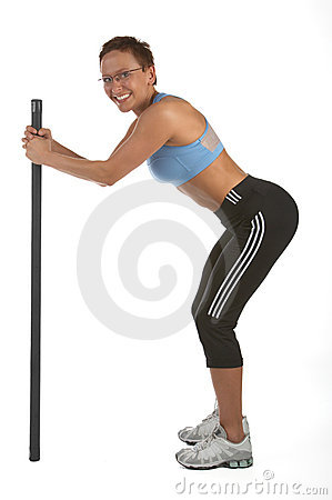 Standing Squat - Young woman showing different exercises.