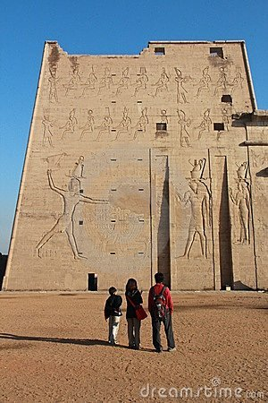 Standing by Temple of Edfu Editorial Stock Photo