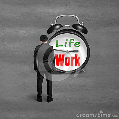Free Standing Toward Alarm Clock With Life And Work Face Stock Photo - 39547060