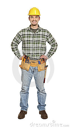 Standing young handyman