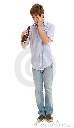 Standing young man with bottle of beer