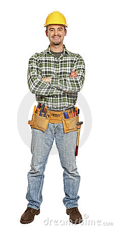 Standing young manual worker