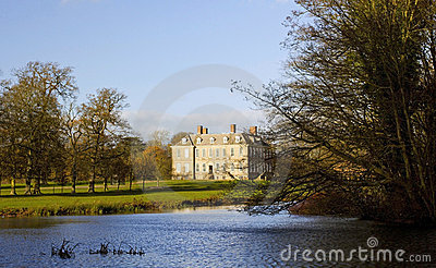 Stanford Hall across the lake