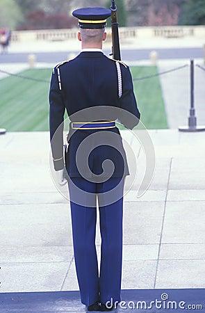 Stany Zjednoczone Żołnierz piechoty morskiej strażnik Obraz Editorial