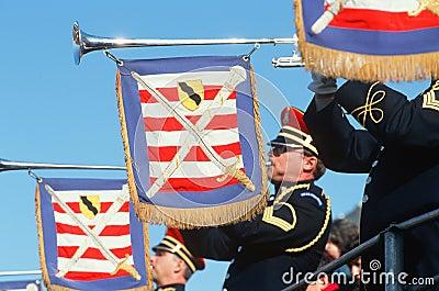 Stany Zjednoczone trąbkarzi Żołnierz piechoty morskiej Corp Obraz Editorial