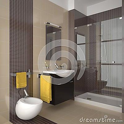 Stanza Da Bagno Beige Moderna Con Mobilia Di Legno Fotografie Stock - Immagin...