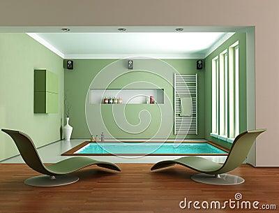 Stanza da bagno di lusso minimalista verde fotografia - Vasche da bagno di lusso ...