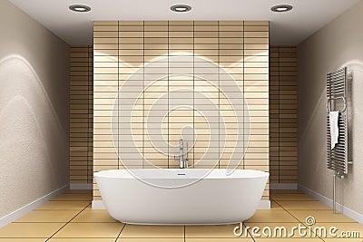 Stanza Da Bagno Moderna Con Le Mattonelle Beige Sulla Parete Immagini Stock - Immagine: 16057694