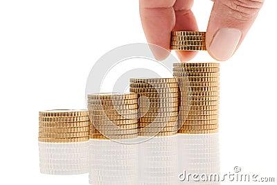 Stapel euro muntstukken