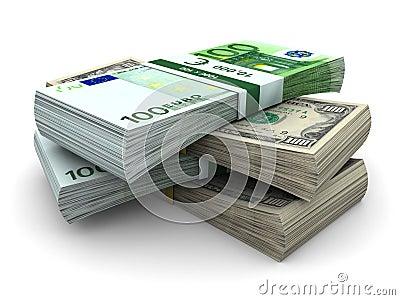 Stapel van $100 en rekeningen 100â¬