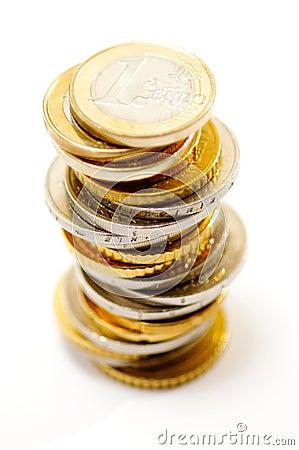 Stapel van euro muntstukken