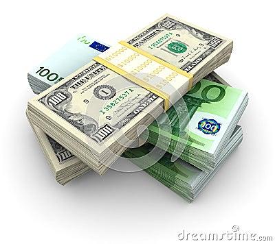 Stapel von $100 und von Rechnungen 100â¬