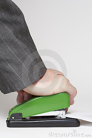 Stapler over white background