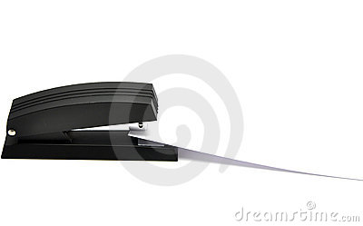 Stapler with sheet of paper