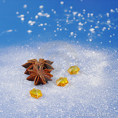 Star Anise on Blue