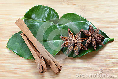Star anise, cinnamon and kaffir lime