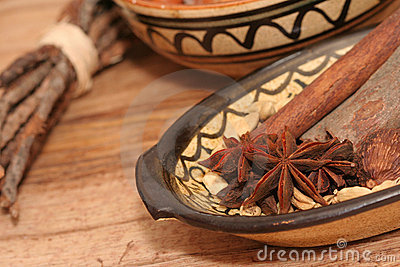 Star anise and other spices close-up