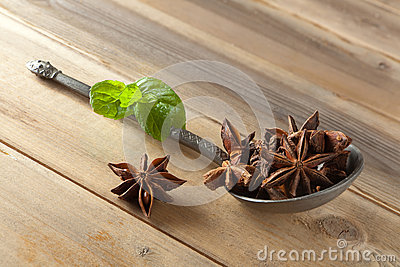 Star anise on a spoon