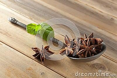 Star anise on a spoon