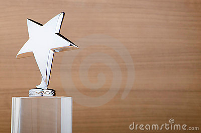 Star award against wood